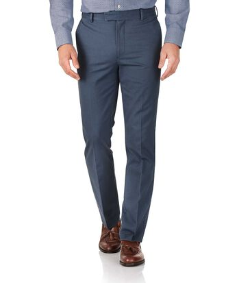 Airforce blue slim fit flat front non-iron chinos