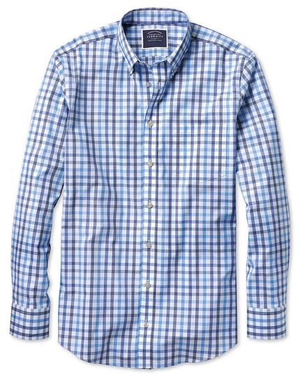 Slim fit non-iron white and blue large check shirt
