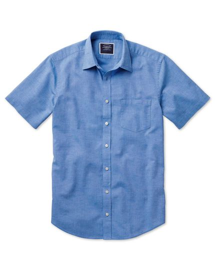 Classic fit cotton linen short sleeve bright blue plain shirt