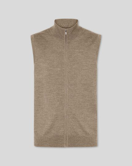 Merino Zip Through Gilet - Mocha