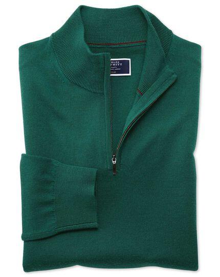Dark green merino zip neck sweater