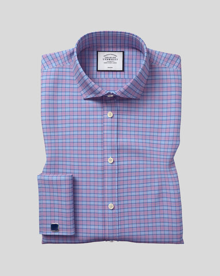 Cutaway Collar Non-Iron Prince Of Wales Check Shirt - Purple & Blue