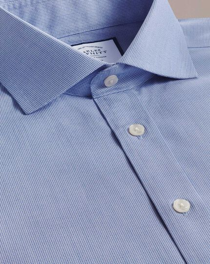 Extra slim fit non-iron spread collar sky blue puppytooth shirt
