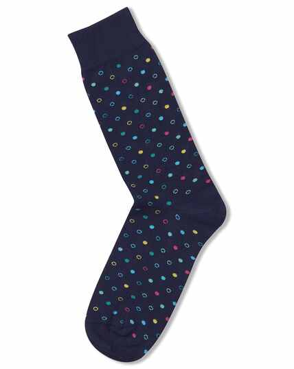 Navy multi dot socks