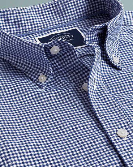 Bügelfreies vorgewaschenes Slim Fit Stretch-Kurzarmhemd mit Gingham-Karos in Königsblau