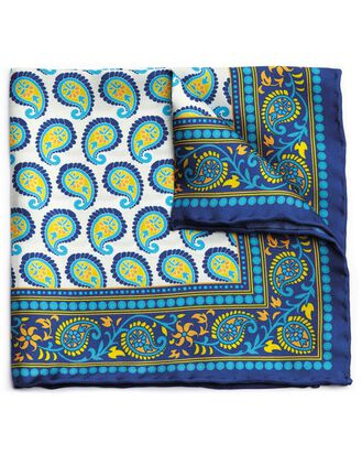 Bright blue and yellow modern paisley printed pocket square