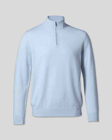 Merino Zip Neck Sweater - Sky