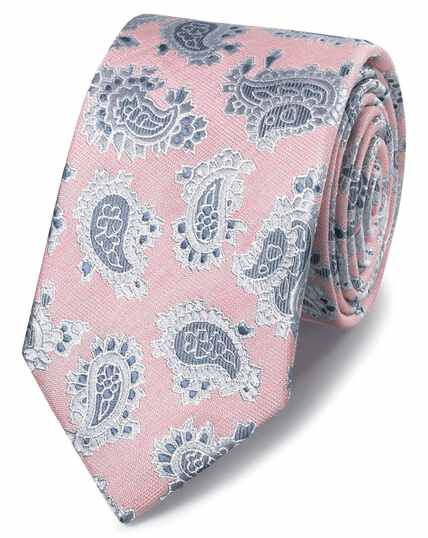 Pink linen silk paisley classic tie