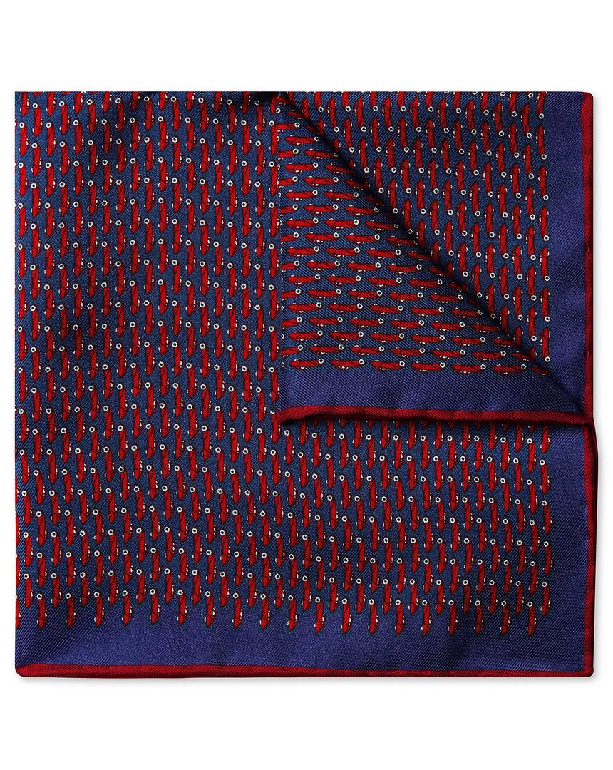 Navy and red car print pocket square