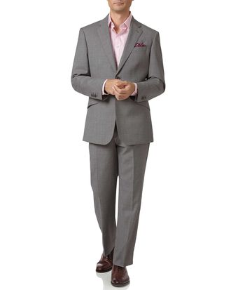 Silver classic fit Italian cross hatch weave suit