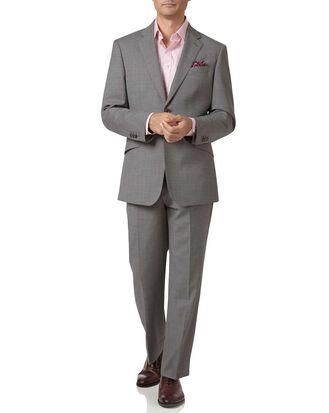 Silver classic fit Italian cross hatch weave suit
