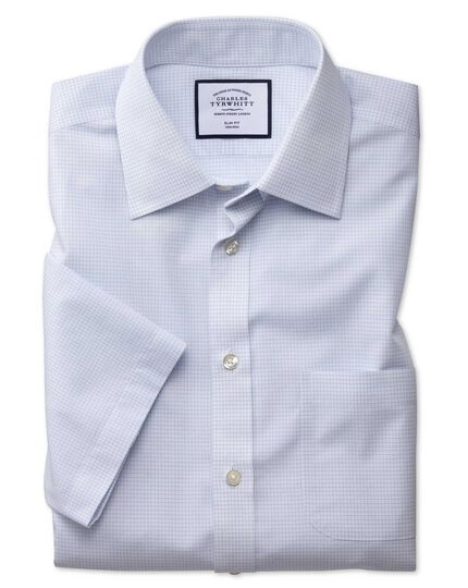 Classic fit non-iron micro check short sleeve blue shirt