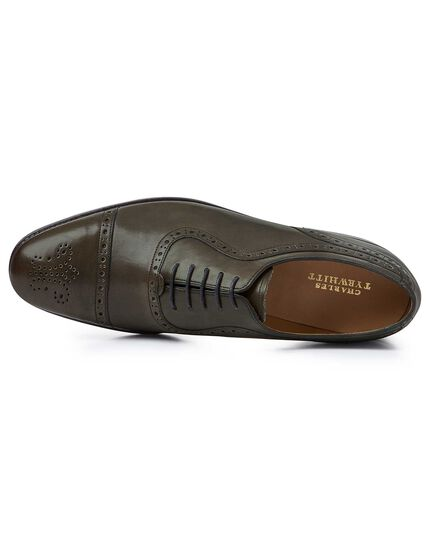 Olive Goodyear welted Oxford brogue shoes