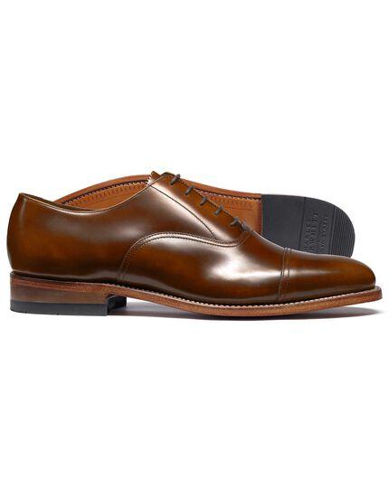 Tan highshine Goodyear welted Oxford toe cap shoe