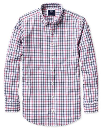 Bügelfreies Extra Slim Fit Hemd mit großem Karomuster in Weiß und Rosa