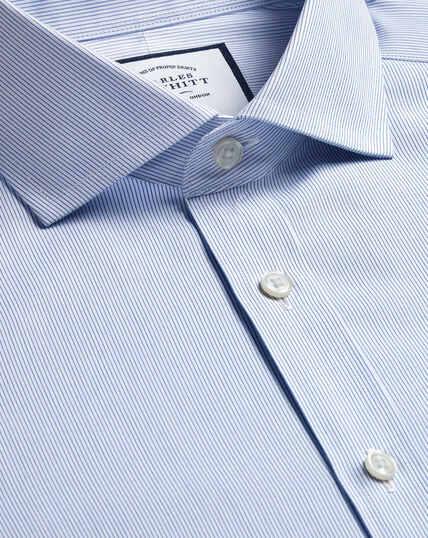 Non-Iron Spread Stripe Tyrwhitt Cool Shirt - Blue