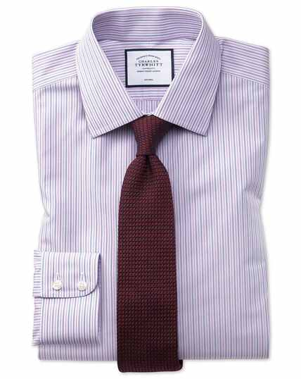 Classic fit non-iron lilac and blue multi stripe shirt