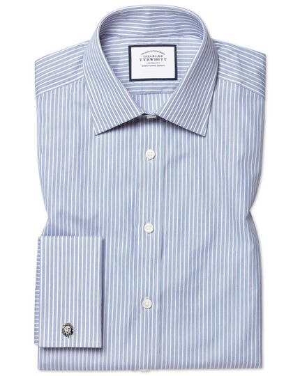 Poplin Fine Stripe Shirt - Blue