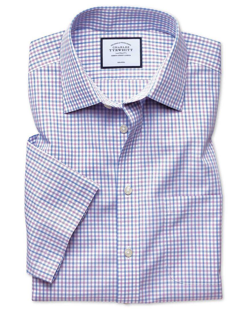 Slim fit non-iron Tyrwhitt Cool poplin short sleeve lilac and sky blue check shirt