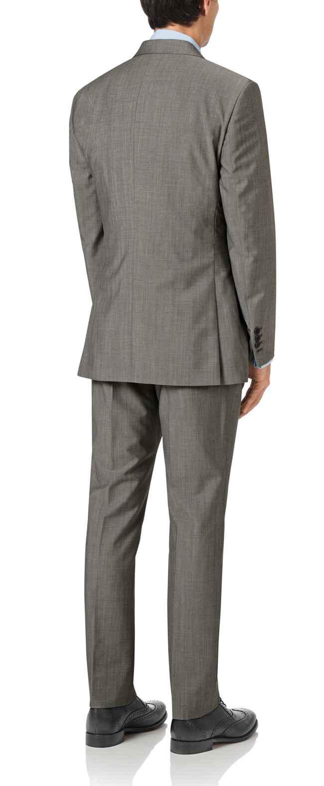 Costume gris en luxueuse laine italienne slim fit