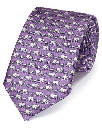 Lilac elephant print silk classic tie