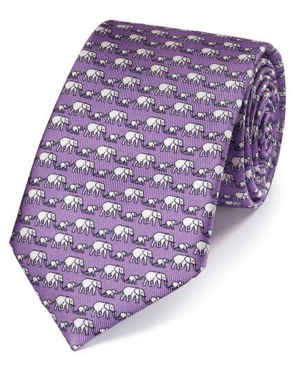 Cravate classique lilas en soie à imprimé éléphant