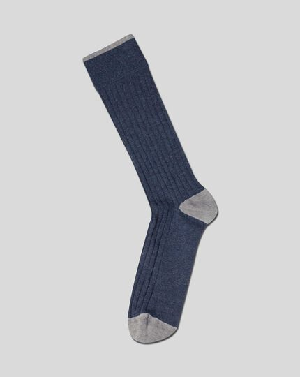 Cotton Rib Socks - Indigo