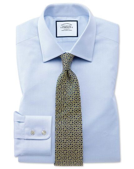 Slim fit sky blue cube weave Egyptian cotton shirt