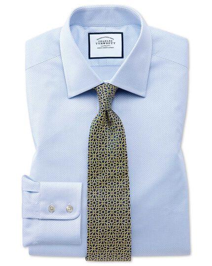 Slim fit sky blue cube weave Egyptian cotton shirt