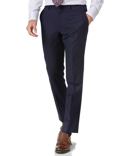 Navy slim fit twill business suit trousers