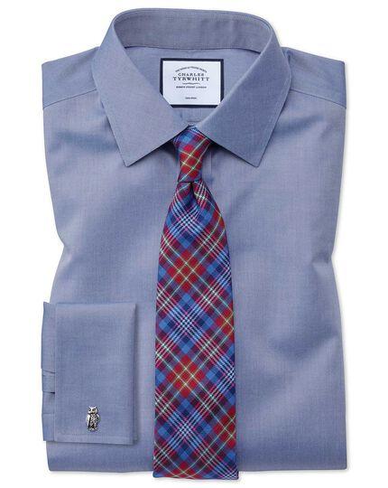 Bügelfreies Slim Fit Hemd aus Twill in Mittelblau