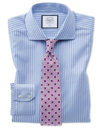 Slim fit non-iron cotton stretch Oxford sky blue and white stripe shirt