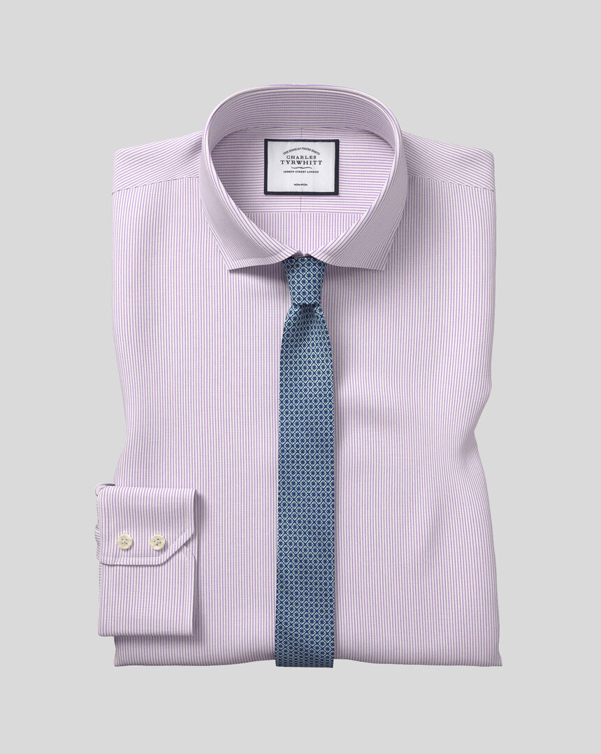 Cutaway Collar Non-Iron 4 Way Stretch Stripe Shirt- Lilac