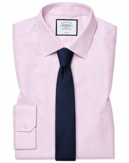 Super slim fit non-iron dash weave pink shirt
