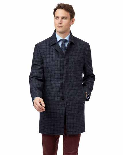 Grey with blue dogstooth wool car coat