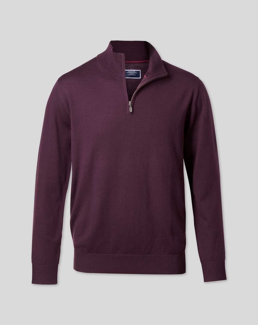 Merino Zip Neck Sweater - Wine