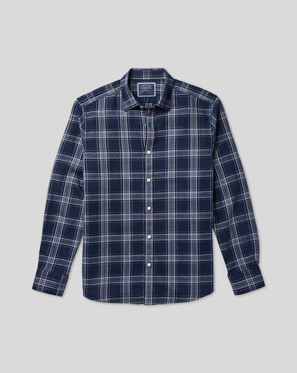 Classic Collar Check Shirt - Navy & Grey