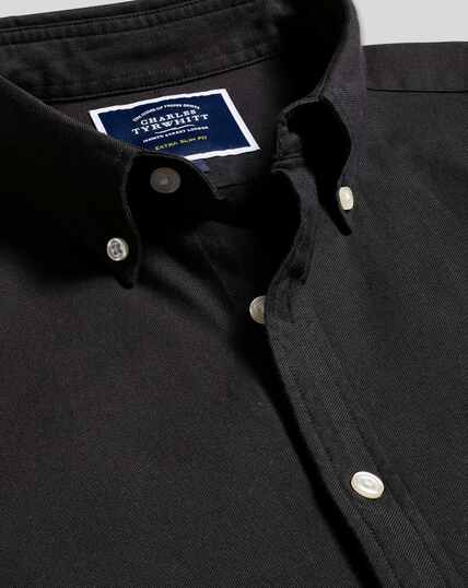 Button-Down Collar Washed Oxford Shirt - Black