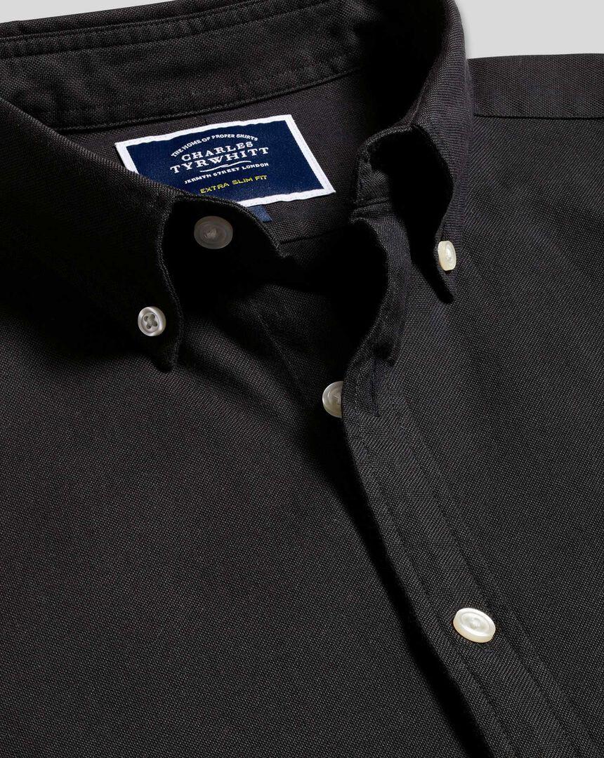 Oxford Hemd mit Button-down-Kragen - Schwarz