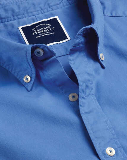 Garment Dyed Fine Twill Shirt - Bright Blue