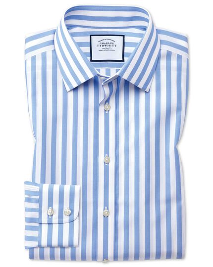 Extra slim fit non-iron sky blue wide bengal stripe shirt