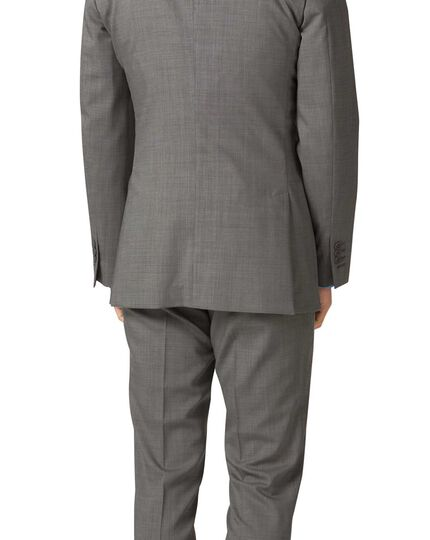 Silver slim fit step weave suit jacket