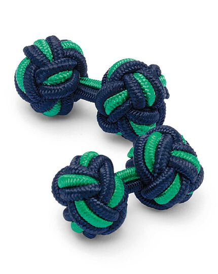 Navy and green knot cufflinks