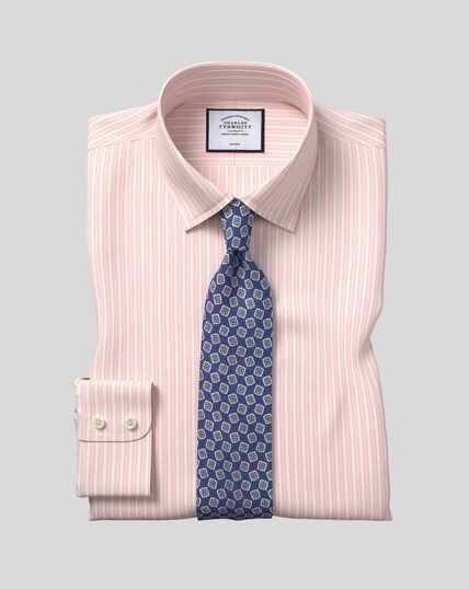 Bügelfreies Popeline-Hemd mit Kent Kragen und Streifen -  Korallenrot