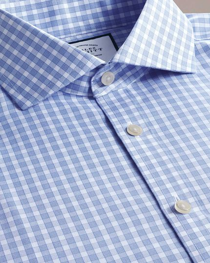 Slim fit non-iron twill gingham sky blue shirt