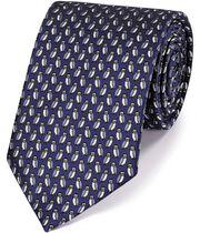 Klassische Krawatte aus Seide mit Eulenmuster in Marineblau