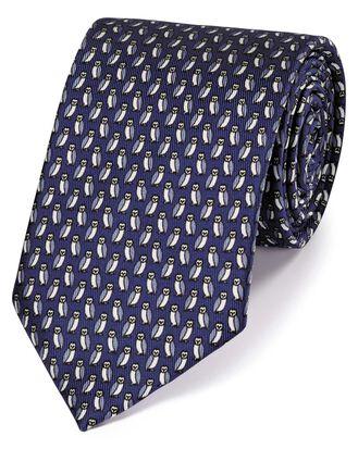 Cravate classique bleu marine en soie à imprimé hiboux