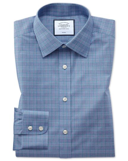 Classic fit non-iron blue and green Prince of Wales check shirt
