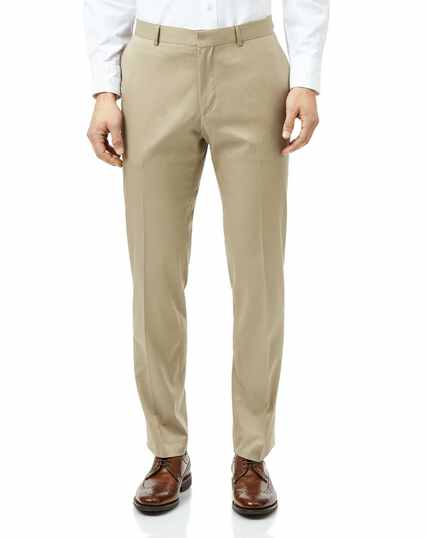 Stone slim fit cotton suit trousers