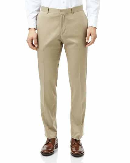 Slim Fit Anzughose aus Baumwolle in Leichtgrau